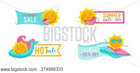 Set Of Hot Summer Sale Banners With Cute Cartoon Sun Surfing On Sea Wave, Drink Cocktail, Eat Waterm