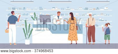 Stylish Woman Buying Remedy Consulting With Pharmacist At Drugstore Vector Flat Illustration. Differ