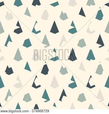 Seamless Geometric Pattern. Repeated Mini Triangles. Grunge Scales Or Scallop Texture. Kite Shapes.