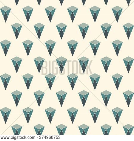 Seamless Surface Pattern With Cracked Stones. Repeated Mini Triangles Abstract Wallpaper. Ruined Kit