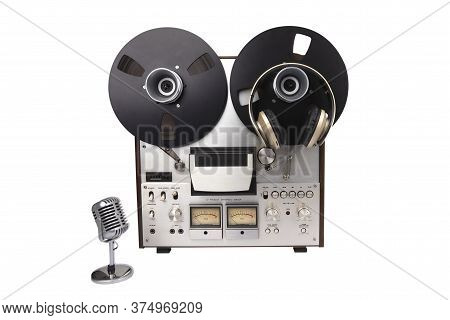 Reel To Reel Audio Tape Recorder With Headphones And Microphone Isolated On White Background