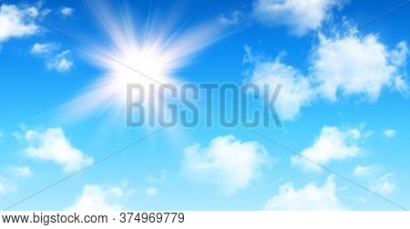 Sunny background, blue sky with white cumulus clouds and glaring sun, natural summer background illustration.