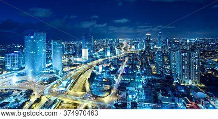 Panorama Of Tel Aviv Skyline At Night,  Tel Aviv Cityscape , Israel