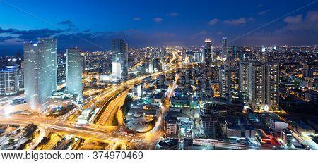 Tel Aviv Skyline At Dusk,  Tel Aviv Cityscape  At Sunset Time, Israel