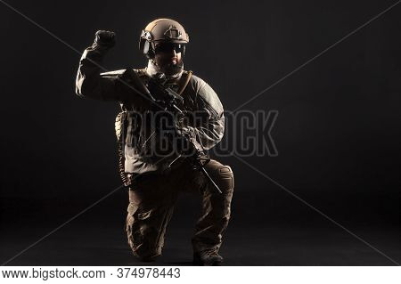Military Special Forces In Uniform With Weapons Attack At Night, Elite Troops, Counter-terrorist Aga