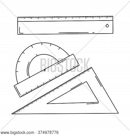 A Set Of School Lines. Ruler, Corner, And Protractor. Office Supplies For Drawing Work. School Suppl