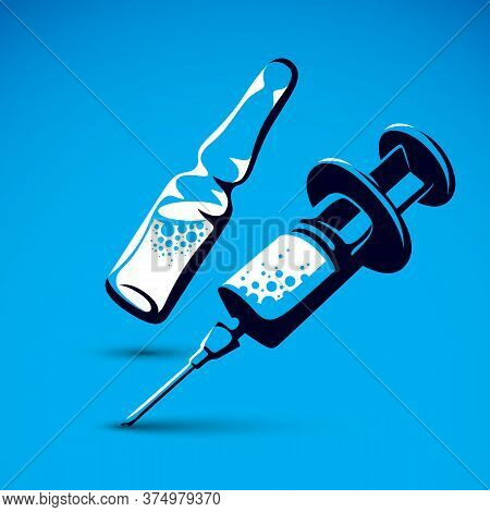 Vector Graphic Illustration Of Plastic Disposable Syringe For Medical Injections And Ampoule With Me