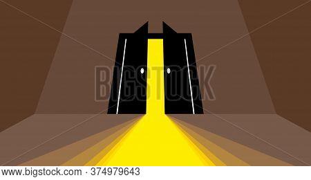 Half Open Secret Door New Opportunities Concept Vector Illustration, Fear Of The Unknown, Step Insid
