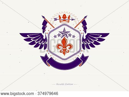 Old Style Heraldry, Heraldic Emblem, Vector Illustration Made Using Imperial Crown, Lily Flower And