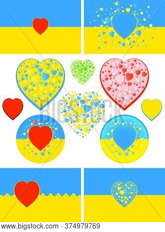 State Flag Of Ukraine With Hearts Variations. Green, Red And Bicolour Blue And Yellow Hearts. Flag C
