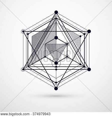Trendy Geometric Vector Pattern, Textured Abstract Cube Mesh Black And White Background. Technical P