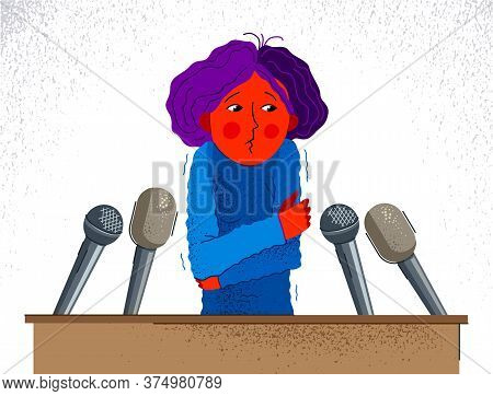 Glossophobia Fear Of Public Speech Vector Illustration, Girl Surrounded By Microphones Scared In Pan