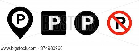 Parking Icon. Vector Isolated Parking Signs. Map Parking Pointer. Parking Place Sign. Stock Vector.