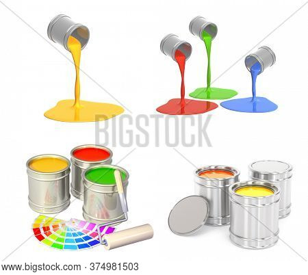 Construction paints in different colors in a jars. Roller and paints in metal containers. Paint flowing out of a can. Isolated on white background. 3d render