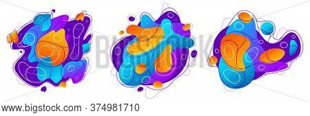Abstract Colorful Lava Fluids Vector Illustrations Set, Bubble Gradients Shapes In Motion, Artistic