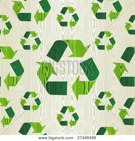 Organic wood with recycle arrows shape concept seamless pattern background. Vector illustration layered for easy manipulation and custom coloring. poster