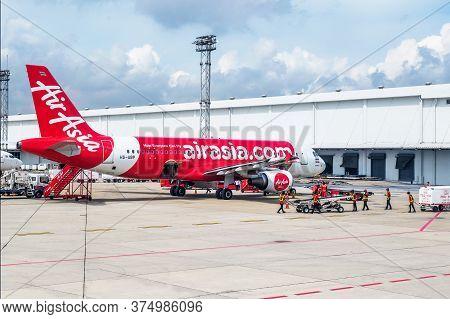 Bangkok - September 7: In Daylight Commercial Aircraft Wait For Taking Off At Don Muang Internationa