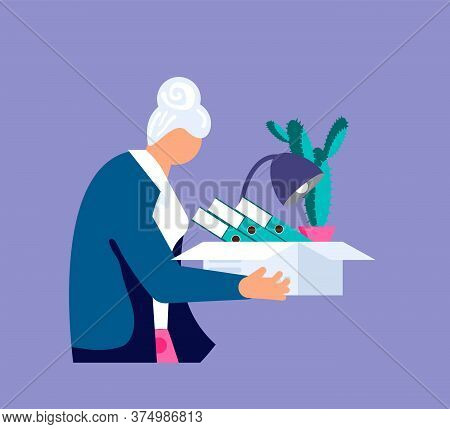 Concept Of Dismissal Elderly Woman Employee. Unemployment Metaphor. Retirement And Employee Job Redu
