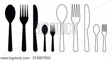 Fork, Knife, Spoon. Dinner Icons. Silhouettes Of Cutlery. Set Of Silverware For Food In Restaurant.
