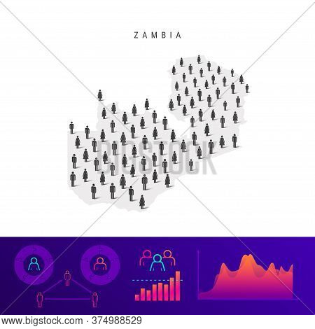 Zambia People Map. Detailed Vector Silhouette. Mixed Crowd Of Men And Women Icons. Population Infogr