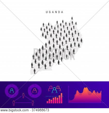 Uganda People Map. Detailed Vector Silhouette. Mixed Crowd Of Men And Women Icons. Population Infogr