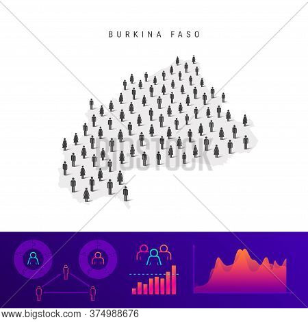 Burkina Faso People Map. Detailed Vector Silhouette. Mixed Crowd Of Men And Women Icons. Population