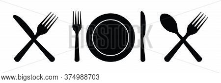 Plate, Fork, Knife, Spoon. Cutlery Icons For Dinner. Set Of Silverware For Lunch, Breakfast. Food An