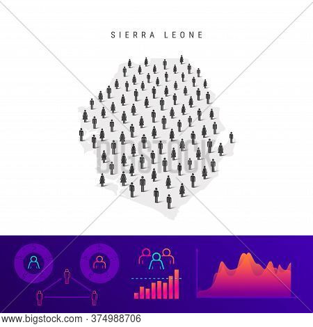 Sierra Leone People Map. Detailed Vector Silhouette. Mixed Crowd Of Men And Women Icons. Population
