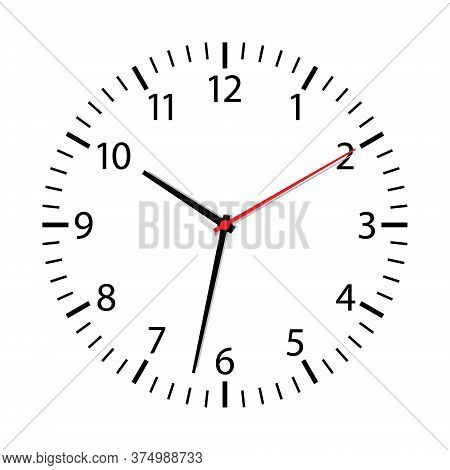 Clock Face Isolated On White Background. Simple Watch Icon. Modern Round Dial With Arrows On Wall. S