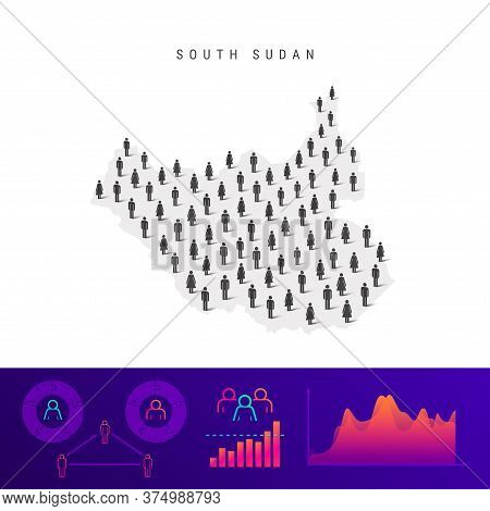 South Sudan People Map. Detailed Vector Silhouette. Mixed Crowd Of Men And Women Icons. Population I