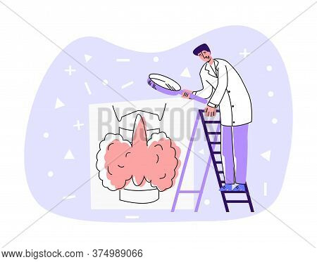 Vector Flat Doctor Standing On Ladder, Who Looks At Enlarged Thyroid Gland Through Magnifying Glass.