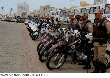 Salvador, Bahia / Brazil - December 14, 2012: Agents Of The Military Police Of Bahia Are Seen During