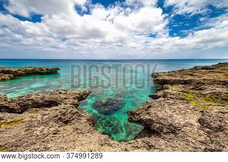 Background View Of Shallow Turquoise Waters With Coral Reefs Underneath The Surface And Fringing Ree
