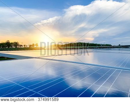 Solar Plant(solar Cell) With The Cloud On Sky, Hot Climate Causes Increased Power Production, Altern