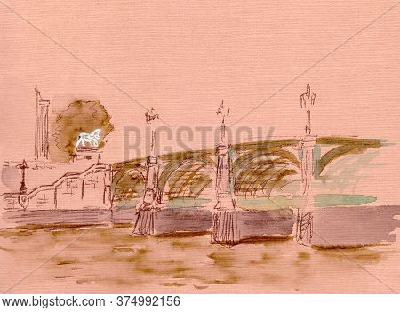 Graphic Colour Drawing, Travel Sketch, Westminster Bridge Over The Thames In London