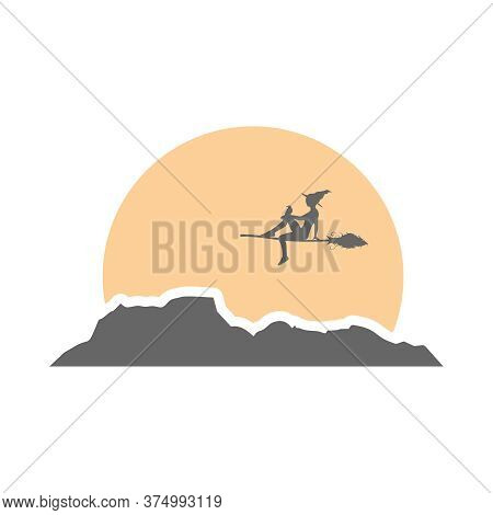 Illustration Of Flying Young Witch. Witch Silhouette With A Broomstick And Raven. Halloween Relative