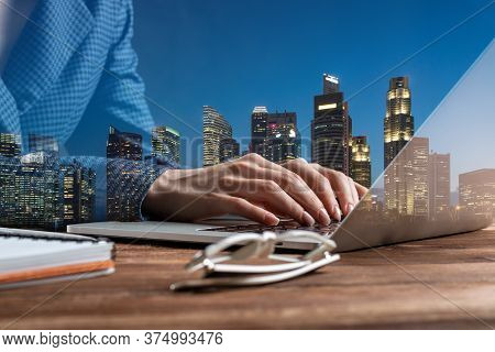 Real Estate Investment Company Double Exposure Concept With Skyscrapers. Business Lady Working With