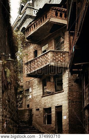 Old building closeup in Xiahao Old street in Chongqing, China.