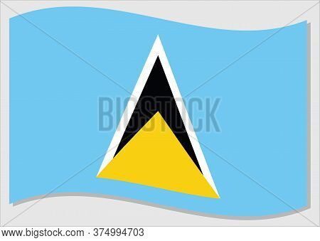 Waving Flag Of Saint Lucia Vector Graphic. Waving Saint Lucian Flag Illustration. Saint Lucia Countr