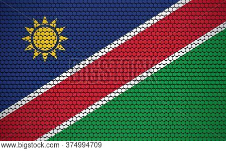 Abstract Flag Of Namibia Made Of Circles. Namibian Flag Designed With Colored Dots Giving It A Moder