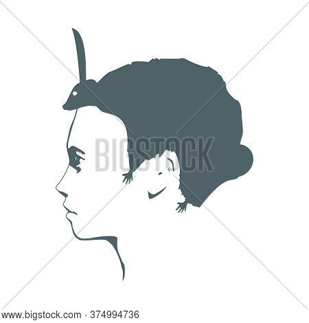 An Animal Or Face Profile View. Optical Illusion. Human Head With Abstract Rodent As Haircut