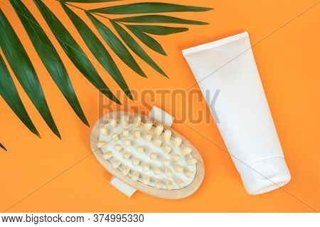White Blank Cosmetic Tube Of Cream Or Body Lotion And Wooden Anti-cellulite Massager, Palm Leaf On O