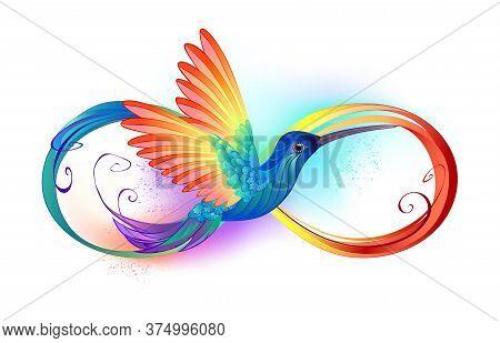 Beautiful Infinity Tattoo With Rainbow Hummingbird. Rainbow Bird.