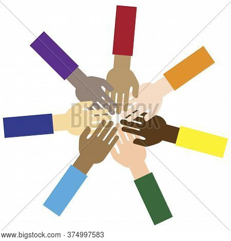 Hands Held Together. Vector Image Of Team And Unity. Symbol Of People Support. Union And Group Work