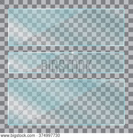 Clear Clear Glass Or Plastic. Glossy Texture With Glitter Effect. Realistic Acrylic Banner. Vector I