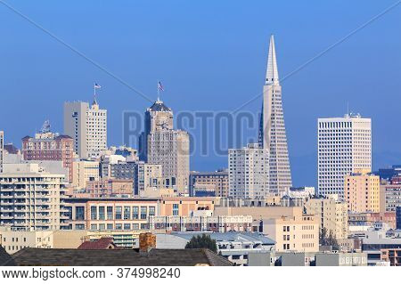 San Francisco Downtown Financial District Cityscape Skyline As Seen From Alamo Square Park Circa 201