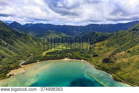 Aerial Panoramic View Of Oahu Coastline And Mountains In Honolulu Hawaii From A Helicopter