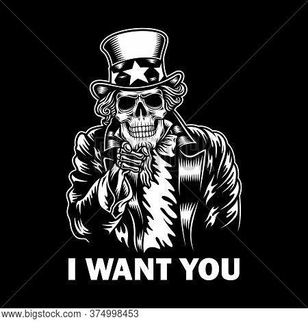 Uncle Sam Skull Vector Illustration On Black Background