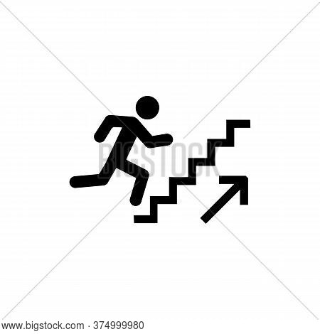 Man Stairs Icon. For Web, Business, Finance And Communication. Businessman Run On Graph, Business Co