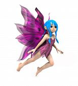 3d render of cute cartoon fairy on white background. poster
